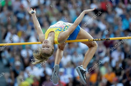 Stock Photo of Ukraine's Yuliya Levchenko makes an attempt in the women's high jump final at the European Athletics Championships at the Olympic stadium in Berlin, Germany