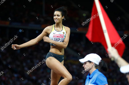 Germany's Marie-Laurence Jungfleisch smiles in the women's high jump final at the European Athletics Championships at the Olympic stadium in Berlin, Germany
