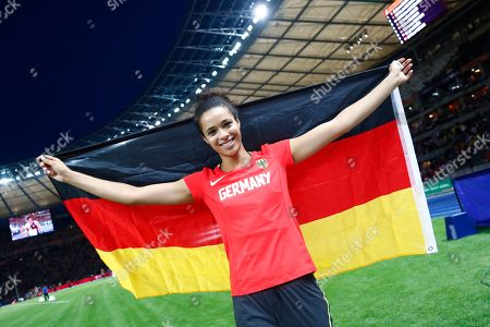 Germany's Marie-Laurence Jungfleisch celebrates after winning the bronze medal in the women's high jump final at the European Athletics Championships at the Olympic stadium in Berlin, Germany