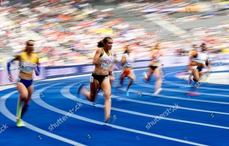 Rebekka Haase (C) of Germany competes in the women's 200m heats at the Athletics 2018 European Championships, Berlin, Germany, 10 August 2018.