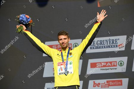 Stock Picture of Silver medalist Fabian Heinle of Germany reacts during the awarding ceremony of the men's Long Jump at the Athletics 2018 European Championships in Berlin, Germany, 10 August 2018.