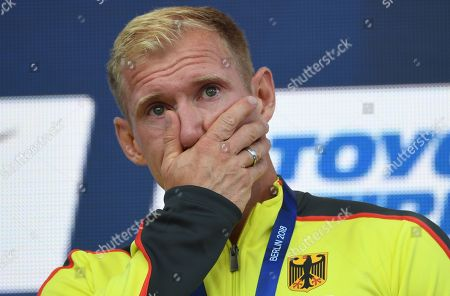 Gold medalist Arthur Abele of Germany reacts during the awarding ceremony of the Decathlon at the Athletics 2018 European Championships in Berlin, Germany, 10 August 2018.