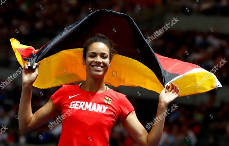 Third placed Marie-Laurence Jungfleisch of Germany celebrates during the Women's High Jump final at the Athletics 2018 European Championships, Berlin, Germany, 10 August 2018.