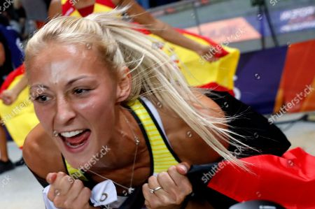 Second placed Kristin Gierisch celebrates after the Women's Triple Jump final at the Athletics 2018 European Championships, Berlin, Germany, 10 August 2018.