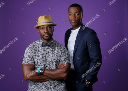 """Taye Diggs, Daniel Ezra. Taye Diggs, left, and Daniel Ezra, cast members in the C W Stoneking series """"All American,"""" pose together for a portrait during the 2018 Television Critics Association Summer Press Tour, in Beverly Hills, Calif"""