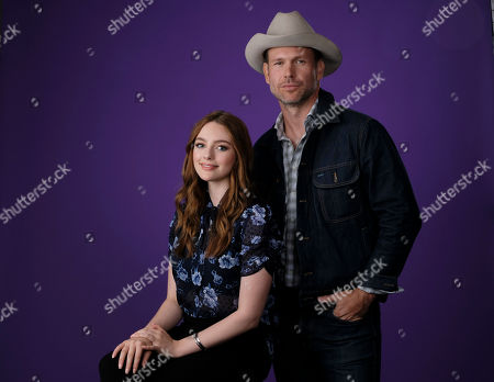 """Stock Photo of Danielle Russell, Matthew Davis. Danielle Russell, left, and Matthew Davis, cast members in the C W Stoneking series """"Legacies,"""" pose together for a portrait during the 2018 Television Critics Association Summer Press Tour, in Beverly Hills, Calif"""