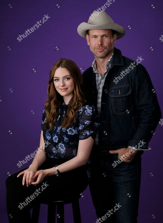 """Stock Image of Danielle Russell, Matthew Davis. Danielle Russell, left, and Matthew Davis, cast members in the C W Stoneking series """"Legacies,"""" pose together for a portrait during the 2018 Television Critics Association Summer Press Tour, in Beverly Hills, Calif"""