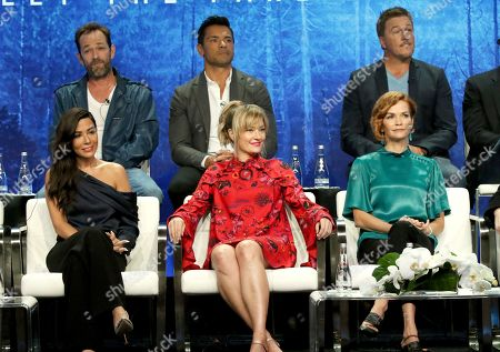 "Luke Perry, Mark Consuelos, Lochlyn Munro, Marisol Nichols, Madchen Amick, Nathalie Boltt. Luke Perry, from back row left, Mark Consuelos, Lochlyn Munro, and from front row left, Marisol Nichols, Madchen Amick and Nathalie Boltt participate in the ""Riverdale"" panel during the CW Television Critics Association Summer Press Tour at The Beverly Hilton hotel, in Beverly Hills, Calif"
