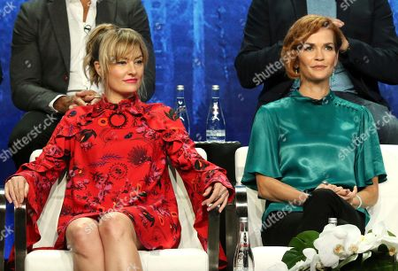 """Stock Photo of Madchen Amick, Nathalie Boltt. Madchen Amick, left, and Nathalie Boltt participate in the """"Riverdale"""" panel during the CW Television Critics Association Summer Press Tour at The Beverly Hilton hotel, in Beverly Hills, Calif"""
