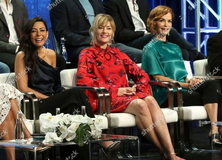 """Marisol Nichols, Madchen Amick, Nathalie Boltt. Marisol Nichols, from left, Madchen Amick and Nathalie Boltt participate in the """"Riverdale"""" panel during the CW Television Critics Association Summer Press Tour at The Beverly Hilton hotel, in Beverly Hills, Calif"""
