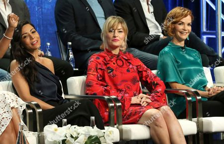 """Stock Picture of Marisol Nichols, Madchen Amick, Nathalie Boltt. Marisol Nichols, from left, Madchen Amick and Nathalie Boltt participate in the """"Riverdale"""" panel during the CW Television Critics Association Summer Press Tour at The Beverly Hilton hotel, in Beverly Hills, Calif"""