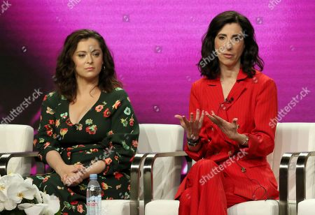 "Stock Photo of Rachel Bloom, Aline Brosh McKenna. Rachel Bloom, left, and Aline Brosh McKenna participate in the ""Crazy Ex-Girlfriend"" panel during the C W Stoneking Television Critics Association Summer Press Tour at The Beverly Hilton hotel, in Beverly Hills, Calif"