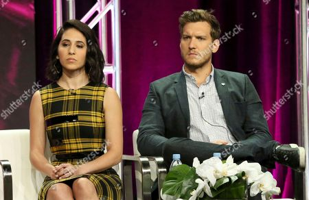 "Gabrielle Ruiz, Scott Michael Foster. Gabrielle Ruiz, left, and Scott Michael Foster participate in the ""Crazy Ex-Girlfriend"" panel during the C W Stoneking Television Critics Association Summer Press Tour at The Beverly Hilton hotel, in Beverly Hills, Calif"