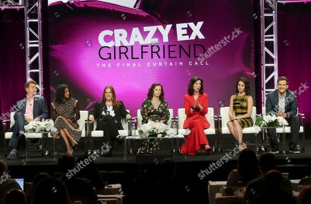 "Pete Gardner, Vella Lovell, Donna Lynne Champlin, Rachel Bloom, Aline Brosh McKenna, Gabrielle Ruiz, Scott Michael Foster. Pete Gardner, from left, Vella Lovell, Donna Lynne Champlin, Rachel Bloom, Aline Brosh McKenna, Gabrielle Ruiz and Scott Michael Foster participate in the ""Crazy Ex-Girlfriend"" panel during the C W Stoneking Television Critics Association Summer Press Tour at The Beverly Hilton hotel, in Beverly Hills, Calif"
