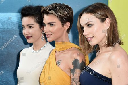"Stock Picture of Li Bingbing, Ruby Rose, Jessica McNamee. Li Bingbing, from left, Ruby Rose and Jessica McNamee attend the LA Premiere of ""The Meg"" at TCL Chinese Theatre, in Los Angeles"