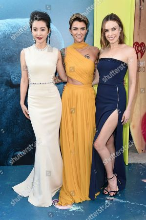 "Li Bingbing, Ruby Rose, Jessica McNamee. Li Bingbing, from left, Ruby Rose nd Jessica McNamee attend the LA Premiere of ""The Meg"" at TCL Chinese Theatre, in Los Angeles"