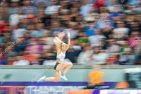 Kristin Gierisch of Germany during triple jump for women at the Olympic Stadium in Berlin at the European Athletics Championship