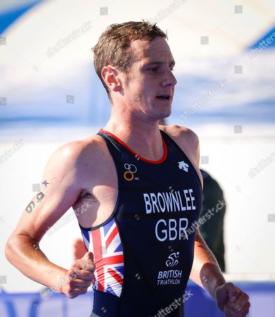 Alistair Brownlee of Great Britain participates in the running discipline of the men's triathlon finals at Strathclyde Country Park during the European Championships in North Lanarkshire, Scotland