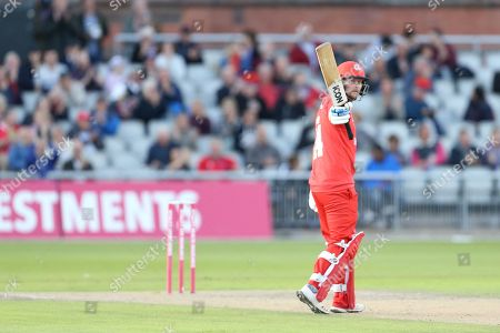 Lancashires Karl Brown reaches 50 during the Vitality T20 Blast North Group match between Lancashire Lightning and Birmingham Bears at the Emirates, Old Trafford, Manchester