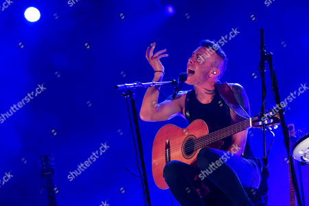 Stock Image of Israeli singer-songwriter Asaf Avidan performs during his concert concert on the third day of the 26th Sziget (Island) Festival on Shipyard Island, Northern Budapest, Hungary, 10 August 2018. The Sziget Festival is one of the biggest cultural events of Europe offering art exhibitions, theatrical and circus performances and above all music concerts.