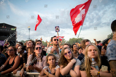 Festival-goers enjoy the concert of Austrian musician Parov Stelar on the third day of the 26th Sziget (Island) Festival on Shipyard Island, northern Budapest, Hungary, 10 August 2018. The Sziget Festival is one of the biggest cultural events of Europe offering art exhibitions, theatrical and circus performances and above all music concerts.