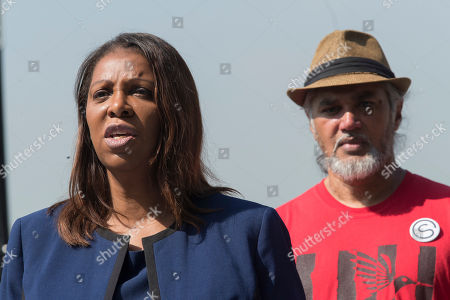 Letitia James, Ravi Ragbir. New York City Public Advocate Letitia James, left, is joined by New Sanctuary Coalition Executive Director Ravi Ragbir as she speaks during a news conference, in New York. James will face off against Leecia Eve, an attorney who was an aide to Hillary Clinton and Cuomo, Zephyr Teachout, a professor at Fordham Law School, and congressman Sean Patrick Maloney in the Democratic primary race for attorney general
