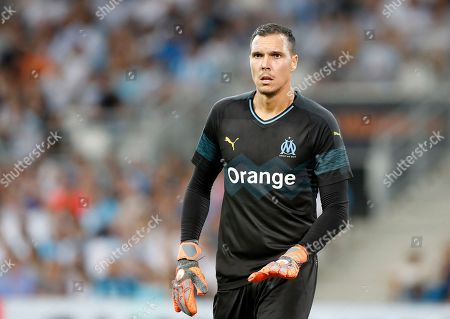 Stock Picture of Goalkeeper Yohann Pele of Olympique Marseille during the French Ligue 1 soccer match, Olympique Marseille vs Toulouse FC at the Velodrome Stadium in Marseille, southern France, 10 August 2018.