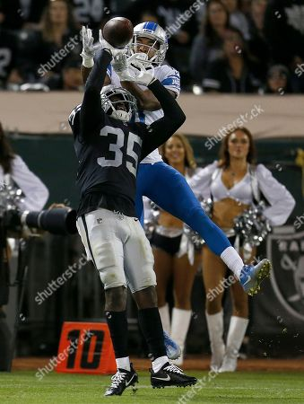 Oakland Raiders defensive back Shareece Wright (35) breaks up a pass intended for Detroit Lions wide receiver Chris Lacy during the second half of an NFL preseason football game in Oakland, Calif