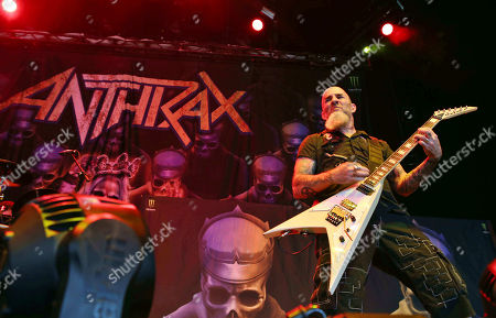 Scott Ian with Anthrax performs as the opener for Slayer at Cellairis Amphitheatre at Lakewood, in Atlanta