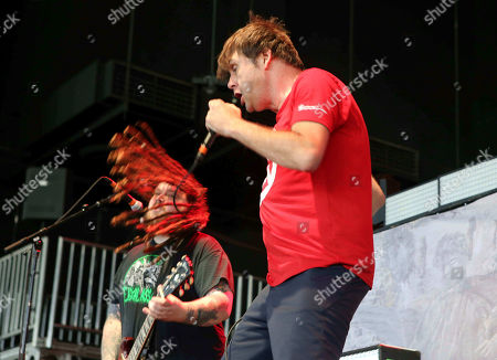 Barney Greenway with Napalm Death performs as the opener for Slayer at Cellairis Amphitheatre at Lakewood, in Atlanta