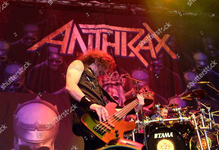 Frank Bello with Anthrax performs as the opener for Slayer at Cellairis Amphitheatre at Lakewood, in Atlanta