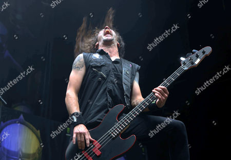 Stock Photo of Frank Bello with Anthrax performs as the opener for Slayer at Cellairis Amphitheatre at Lakewood, in Atlanta