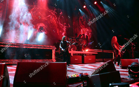 Stock Picture of Kerry King, Tom Araya, Paul Bostaph, Gary Holt. Kerry King, Tom Araya, Paul Bostaph and Gary Holt with Slayer performs as the opener for Slayer at Cellairis Amphitheatre at Lakewood, in Atlanta