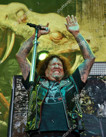Chuck Billy with Testament performs as the opener for Slayer at Cellairis Amphitheatre at Lakewood, in Atlanta