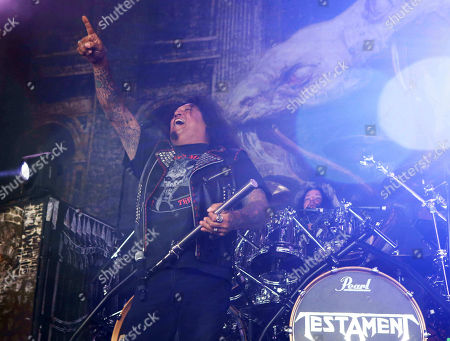 Stock Photo of Chuck Billy with Testament performs as the opener for Slayer at Cellairis Amphitheatre at Lakewood, in Atlanta