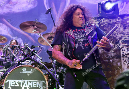 Stock Picture of Chuck Billy with Testament performs as the opener for Slayer at Cellairis Amphitheatre at Lakewood, in Atlanta