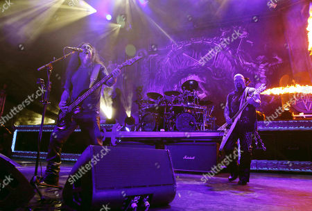 Stock Image of Kerry King, Tom Araya, Paul Bostaph, Gary Holt. Kerry King, Tom Araya, Paul Bostaph and Gary Holt with Slayer performs as the opener for Slayer at Cellairis Amphitheatre at Lakewood, in Atlanta
