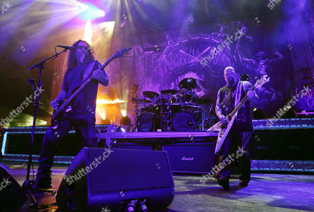 Stock Photo of Kerry King, Tom Araya, Paul Bostaph, Gary Holt. Kerry King, Tom Araya, Paul Bostaph and Gary Holt with Slayer performs as the opener for Slayer at Cellairis Amphitheatre at Lakewood, in Atlanta