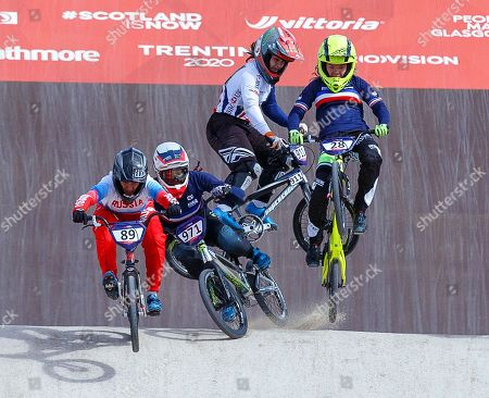 Stock Photo of Manon Valentino (2-L) of France and Bethany Shriever (2-R) of Britain fall during the women's BMX semi final at the Glasgow 2018 European Championships in Glasgow, Britain, 11 August 2018.