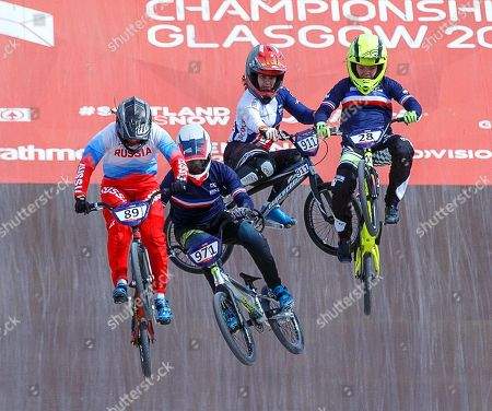 Stock Picture of Manon Valentino (2-L) of France and Bethany Shriever (2-R) of Britain fall during the women's BMX semi final at the Glasgow 2018 European Championships in Glasgow, Britain, 11 August 2018.