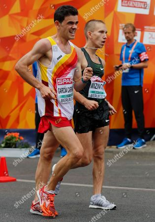 Spaniard Diego Garcia Carrera (L) and Vasiliy Mizinov from Russia in action in the Men's 20km Race Walk at the Athletics 2018 European Championships in Berlin, Germany, 11 August 2018.