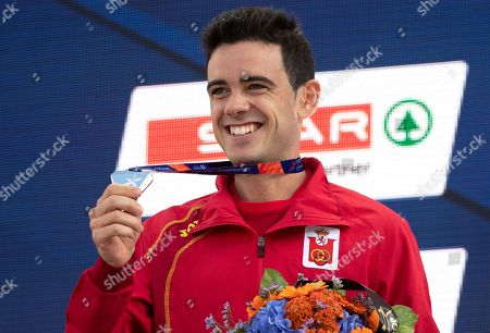 Silver medalist Diego Garcia Carrera of Spain celebrates during the medal ceremony for the men's 20 km Race Walk of the Athletics 2018 European Championships in Berlin, Germany, 11 August 2018.