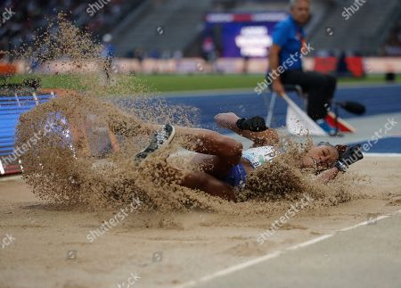 Britain's Shara Proctor in action during the Women's Long Jump final at the Athletics 2018 European Championships, Berlin, Germany, 11 August 2018.