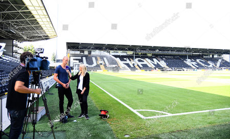 Former Fulham and Palace player Brede Hangeland interviewed pitchside before the match