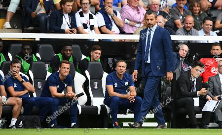 Fulham manager Slavisa Jokanovic assised by Javier Pereira and Scott Parker
