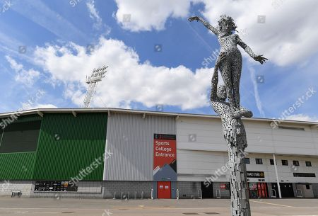 A view of The Statue, a sculpture by Andy Scott created to represent sport, outside the Keepmoat Stadium