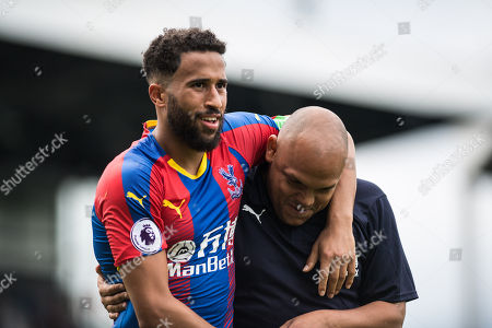 Andros Townsend (10) of Crystal Palace and Danny Young  during the Premier League match between Fulham and Crystal Palace at Craven Cottage, London
