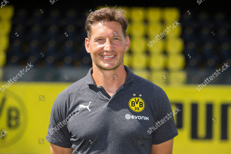 Athletic coach Andreas Beck of Borussia Dortmund looks on during the team presentation at Training Ground Brackel in Dortmund, Germany, 10 August 2018.