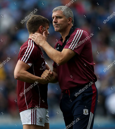 Dublin vs Galway. Galway manager Kevin Walsh with Shane Walsh after the game