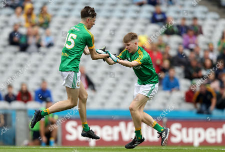 Galway vs Meath. Meath's Luke Mitchell celebrates scoring a goal with David Bell